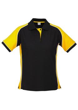 p10122 Ladies Nitro Polo Black-Yellow_White