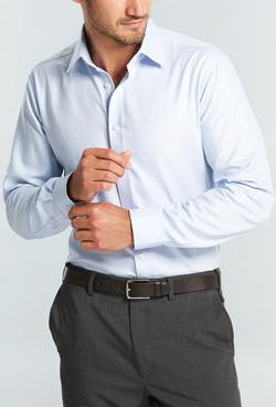 Mens 1709L LS Micro Step Textured Plain Shirt Sky A