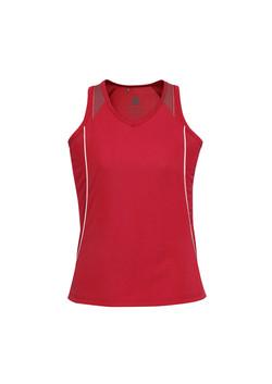 Biz SG407L Ladies Razor Singlet Red-White