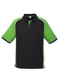 p10112 Mens Nitro Polo Black-Green-White