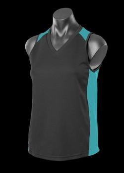 2101 Ladies Premier Singlet Black-Teal