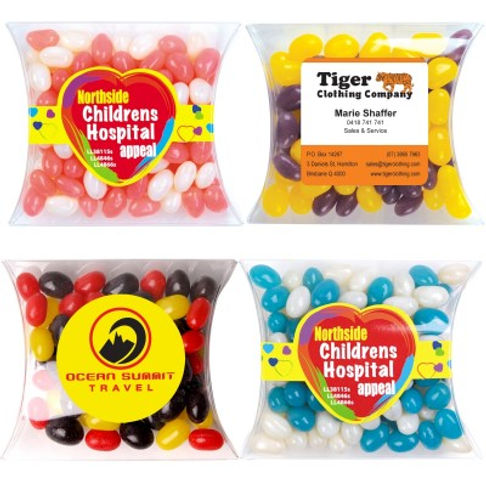 100 grams of Corporate Colour Mini Jelly Beans packed in Pillow Pack. Your choice of jellybeans, choose from 9 great colours and flavours - Orange (Orange), Pink (Raspberry), White (Lychee), Red (Strawberry), Green (Apple), Yellow (Lemon), Black (Aniseed), Purple (Grape), Blue (Blueberry).