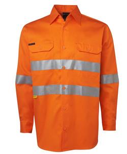6DNWL Hi Vis LS (D+N) 150G Work Shirt Orange