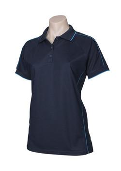 p9925 Ladies Resort Polo Navy-Mid Blue