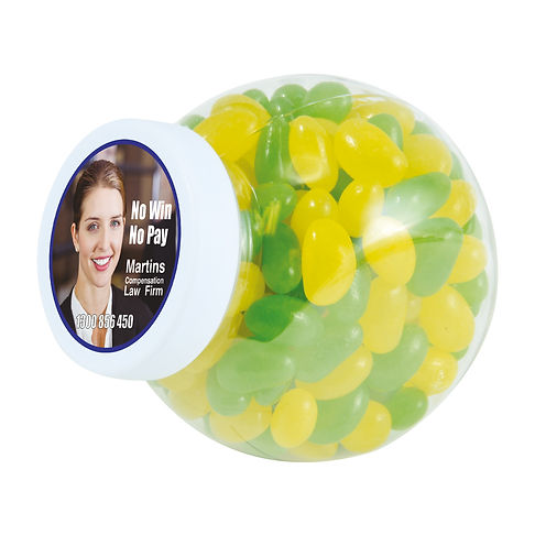 160 grams of Corporate Colour Mini Jelly Beans packed in clear Container with white twist top Lid and tamper evident security seal. Your choice of jellybeans, choose from 9 great colours and flavours - Orange (Orange), Pink (Raspberry), White (Lychee), Red (Strawberry), Green (Apple), Yellow (Lemon), Black (Aniseed), Purple (Grape), Blue (Blueberry).