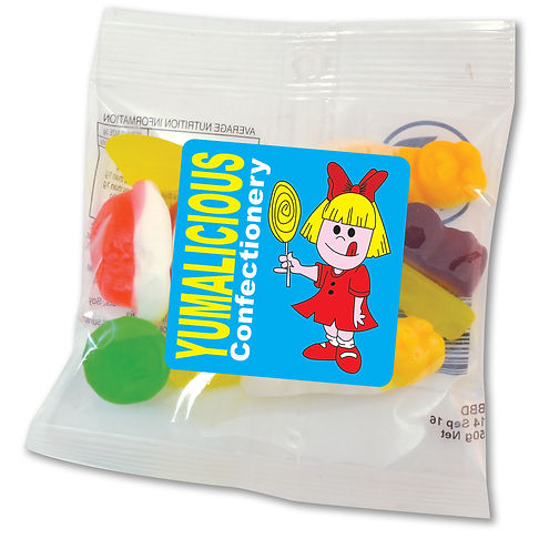 50 gram cello bag of assorted jelly party mix in cello bag. Contents vary in each cello bag.