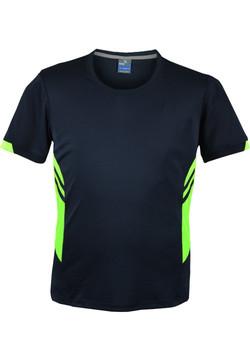 AP 1211 Mens Tasman Tshirt Navy-Fluro Green