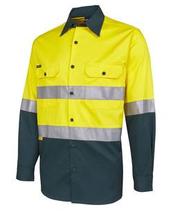 6DNWL Hi Vis LS (D+N) 150G Work Shirt Yellow-Bottle