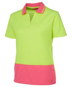 6HNB1 Hi Vis Ladies SS Non Button Polo - Lime-Pink