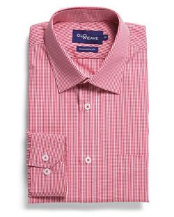 Mens 1637L LS Gingham Check Shirt Crimson