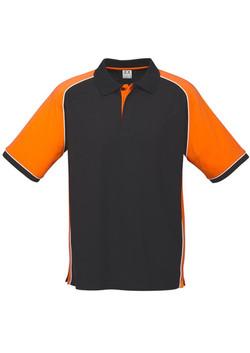 p10112 Mens Nitro Polo Black-Orange-White