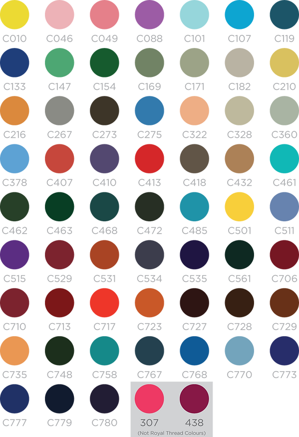 SunPrits Custom Emboidery Thread Colours Swatch Chart
