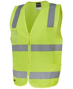 6DNSZ Hi Vis (D+N) Zip Safety Vest - Lime
