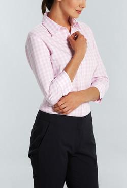 Ladies 1710WL Royal Oxford Gingham Shirt Pink A