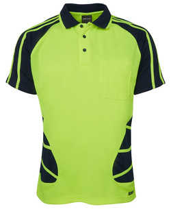 6HSP Hi Vis SS Spider Polo - Lime-Navy