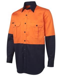 6HWL Hi Vis LS 190G Shirt Orange-Navy