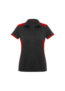 Biz P705LS Ladies Rival Polo Shirt Black_Red