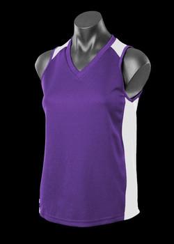 2101 Ladies Premier Singlet Purple-White