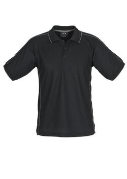 p9900 Mens Resort Polo Black-Charcoal