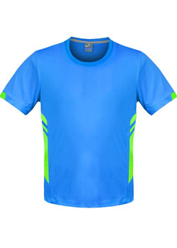 AP 1211 Mens Tasman Tshirt Cyan-Fluro Green