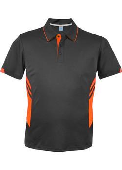 AP 1311 Mens Tasman Polo Slate-Neon Orange