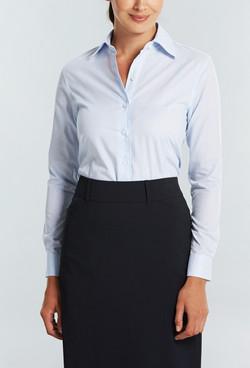 Ladies 1295WL Textured Yarn Shirt Blue A
