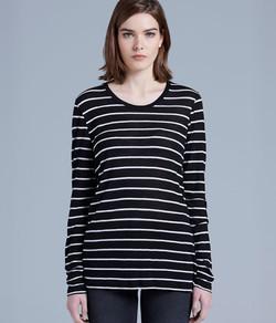 Fine Long Sleeve Stripe Tee 4027 Black_White