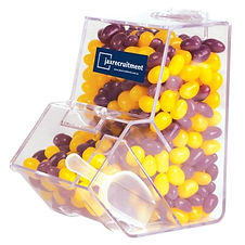 630 grams of Corporate Colour Mini Jelly Beans packed in Dispenser with scoop. Your choice of jellybeans, choose from 9 great colours and flavours - Orange (Orange), Pink (Raspberry), White (Lychee), Red (Strawberry), Green (Apple), Yellow (Lemon), Black (Aniseed), Purple (Grape), Blue (Blueberry).