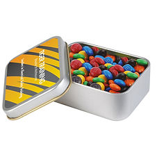 50 gram cello bag of assorted colour milk chocolate M&M's (Green, Red, Orange, Yellow, Brown and Blue) packed in 2 piece silver rectangular tin with gold tin lining and gold rolled rim.