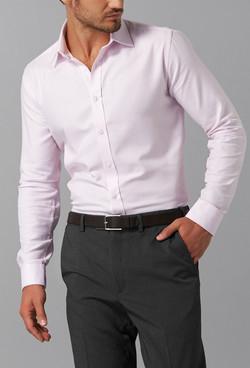 Mens 1709L LS Micro Step Textured Plain Shirt Pink A