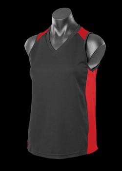 2101 Ladies Premier Singlet Black-Red