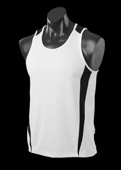 1104 Mens Eureka Singlet White-Black