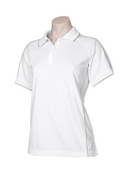 p9925 Ladies Resort Polo White-Charcoal