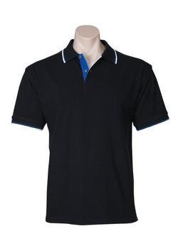 p9300 Mens Nautilus Polo Black-French Blue-White
