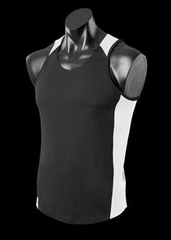 1101 Mens Premier Singlet Black-White