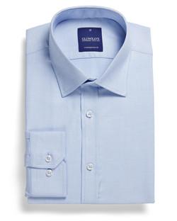 Mens 1709L LS Micro Step Textured Plain Shirt Sky