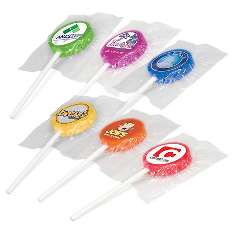 Delicious nine gram lollipops which are available in a range of colours with different flavours: Orange: Orange Flavour Red: Strawberry Flavour Green: Lime Flavour Blue: Tropical Flavour Purple: Passionfruit Flavour They can be ordered in individual colours or assorted and are branded with a digital label which can be printed in spot colours or full colour.
