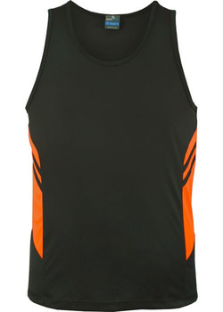AP 1111 Mens Tasman Singlet Slate-Fluro Orange.jpg