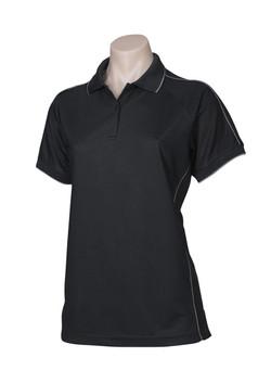 p9925 Ladies Resort Polo Black-Charcoal
