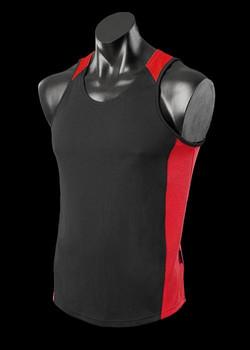 1101 Mens Premier Singlet Black-Red