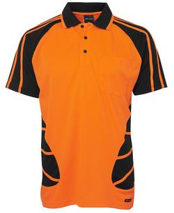 6HSP Hi Vis SS Spider Polo - Orange-Black