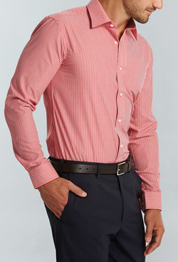 Mens 1376L LS Bold Stripe Shirt Red A
