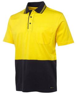 6CPHV Hi Vis SS Cotton Polo Yellow-Navy