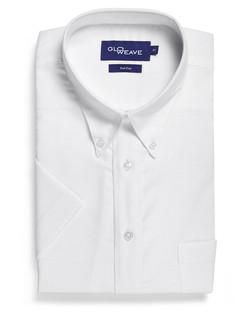 Mens 1015S SS Oxford Weave White Shirt