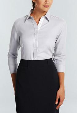 Ladies 1709WL Micro Step Textured Plain Shirt Grey A