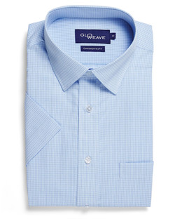 Mens 1295S SS Textured Yarn Shirt Blue