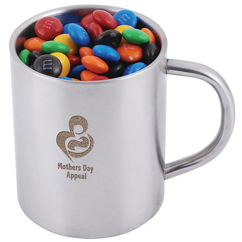 250 grams of assorted colour milk chocolate M&M's (Green, Red, Orange, Yellow, Brown and Blue) shrink wrapped in Double Wall Stainless Steel Barrel Mug.