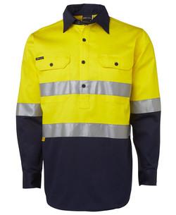 6HWCF Hi Vis (D+N) Close Front LS 190g Shirt Yellow-Navy