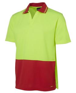 6HNB Hi Vis SS Non Button Polo Lime-Red