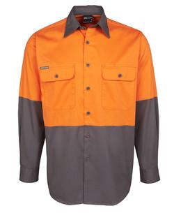 6HWSL Hi Vis LS 150G Shirt Orange-Charcoal